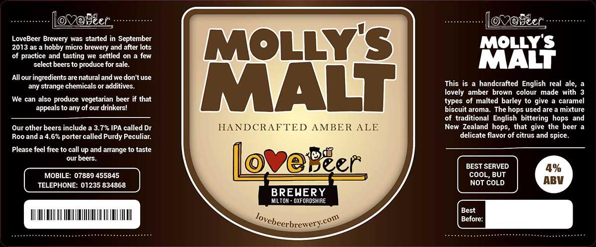 Molly's Malt beer label