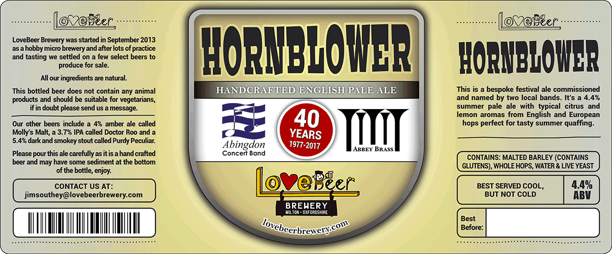 Hornblower beer label